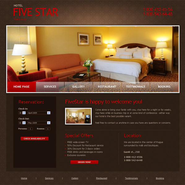 free-website-template-five-star-hotel